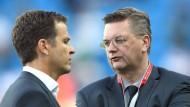 Nicht immer einer Meinung: DFB-Präsident Grindel (rechts) und Teammanager Bierhoff.
