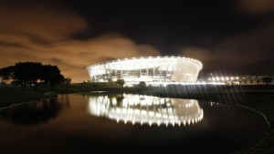 Cape Town''s Green Point stadium is illuminated as construction officials test the lighting as part of preparations for the 2010 FIFA World Cup