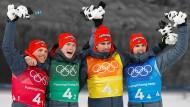 Zum Olympia-Abschluss gab es für die deutsche Biathlon-Staffel Bronze.