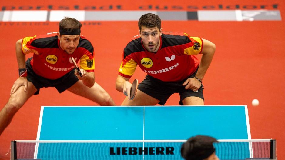 Voller Fokus auf Olympia: Timo Boll (links) und Patrick Franziska bilden in Tokio das deutsche Doppel.