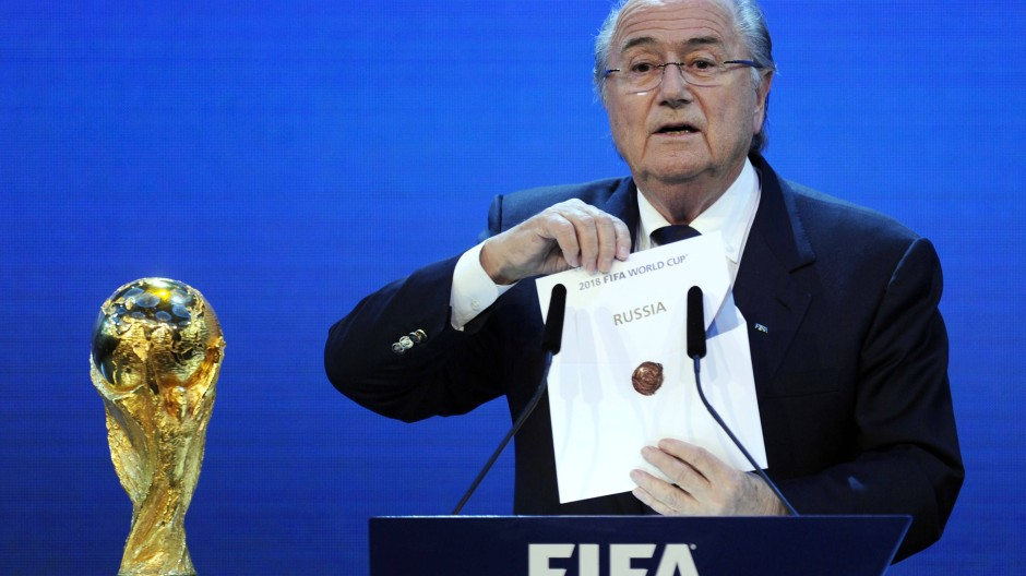 Blatter bei der WM-Vergabe an Russland im Jahr 2010