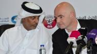 Zu Besuch in Qatar: Fifa-Präsident Gianni Infantino (rechts).