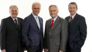 Das Präsidium des WM-Organisationskomitees: Vizepräsident Dr. Theo Zwanziger, Präsident Franz Beckenbauer, 1. Vizepräsident Horst R. Schmidt, Vizepräsident Wolfgang Niersbach (Bild vom Mai 2004, von links)