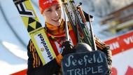 Schafft Eric Frenzel das Triple in Seefeld auch in diesem Jahr? 2015 ist es ihm schon einmal geglückt
