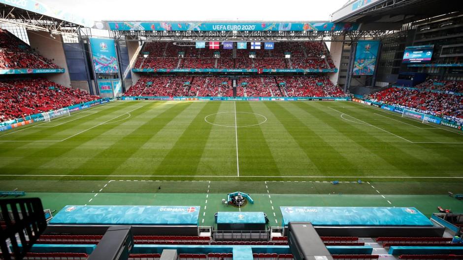 Das Parken-Stadion nach dem Kollaps von Christian Eriksen