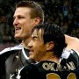Robert Huth (Mitte), Shinji Okazaki und Leicester City sind derzeit nicht aufzuhalten.