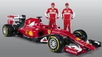 Ein Auto, zwei Fahrer: Sebastian Vettel (r.) und Kimi Raikkönen bei der Vorstellung des neuen Ferrari