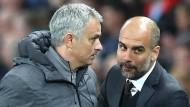 Wer gewinnt das Manchester-Derby? José Mourinho und Pep Guardiola (rechts) treffen als Trainer mal wieder aufeinander.