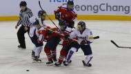 Nord und Süd getrennt – jetzt sollen die Koreanerinnen gemeinsam Eishockey spielen.