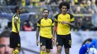 Die Meisterschaft scheint entschieden: Dortmunds Abdou Diallo, Axel Witsel und Paco Alcacer wirken nicht mehr sehr kämpferisch.