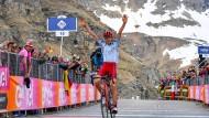 Sieger im Schnee: Ilnur Zakarin gewinnt in Ceresole Reale.