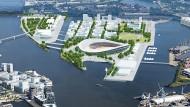 Das Konzept mit dem Olympiastadion auf dem Kleinen Grasbrook in Hamburg – hier eine Visualisierung – scheiterte am Streit um die Finanzierung.
