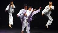 So geht Taekwondo: Nordkoreanische Kämpfer präsentieren ihre Kunst.