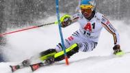 Fahrtrichtung WM: Felix Neureuther im Schneetreiben von Kitzbühel.