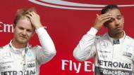 Immer die gleichen Gesichter auf dem Podest: Nico Rosberg (links) und Lewis Hamilton fuhren in Kanada den Mercedes-Doppelsieg ein