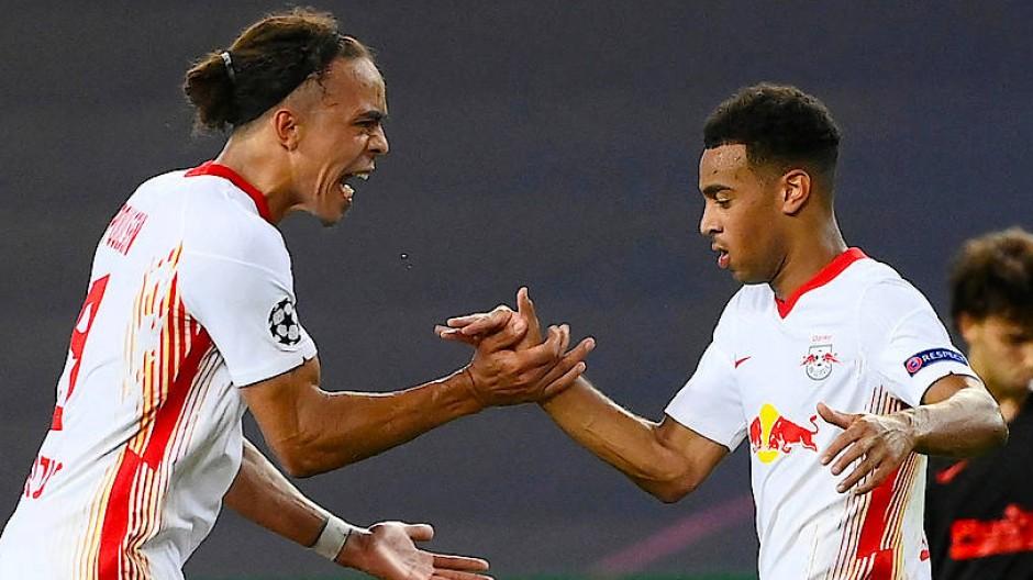 Yussuf Poulsen (links) geht den Leipziger Weg seit 2013 mit, Tyler Adams schoss den Klub ins Halbfinale der Champions League.