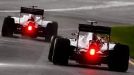 Müssen sich einige Formel-1-Teams daran gewöhnen, Haas F1 (Romain Grosjean, rechts) nur von hinten auf der Strecke zu sehen?