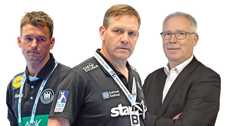 Gelegenheit macht Diebe: Uwe Schwenker (rechts) ergriff die Gelegenheit zur Verpflichtung von Alfred Gislason – zu Lasten von Christian Prokop (links). Die drei sind für dieses Bild montiert worden.