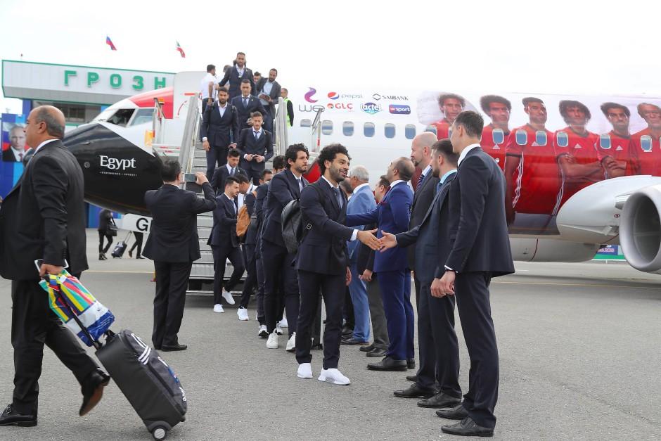 Die Ägypter landeten in Tschetschenien und schlagen dort ihr Quartier für die WM auf.
