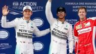 Hamilton (Mitte) vor Rosberg (links) und Vettel – so geht es ins Rennen in China am Sonntag