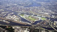 Das Olympiastadion in Hamburg soll auf dem Kleinen Grasbrook im Hafen entstehen