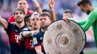 Keine Zeit für Bierduschen: Die Bayern machen die Raupe