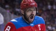 Der russische Bär ist erwacht: Alex Owetchkin beim Sieg gegen Finnland