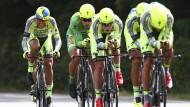 Da steckt Geld dahinter: Alberto Contador (links) mit seinen Kollegen vom Team Tinkoff-Saxo
