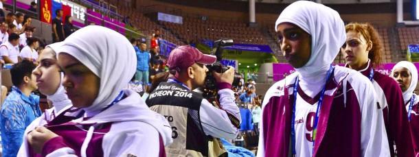 Das qatarische Frauen-Basketball-Team bei den Asien-Spielen 2014 in Korea