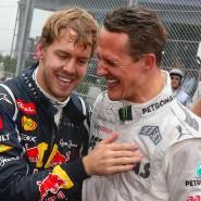 Das waren noch Zeiten: Sebastian Vettel (links) und Michael Schumacher 2012 beim Rennen in Brasilien