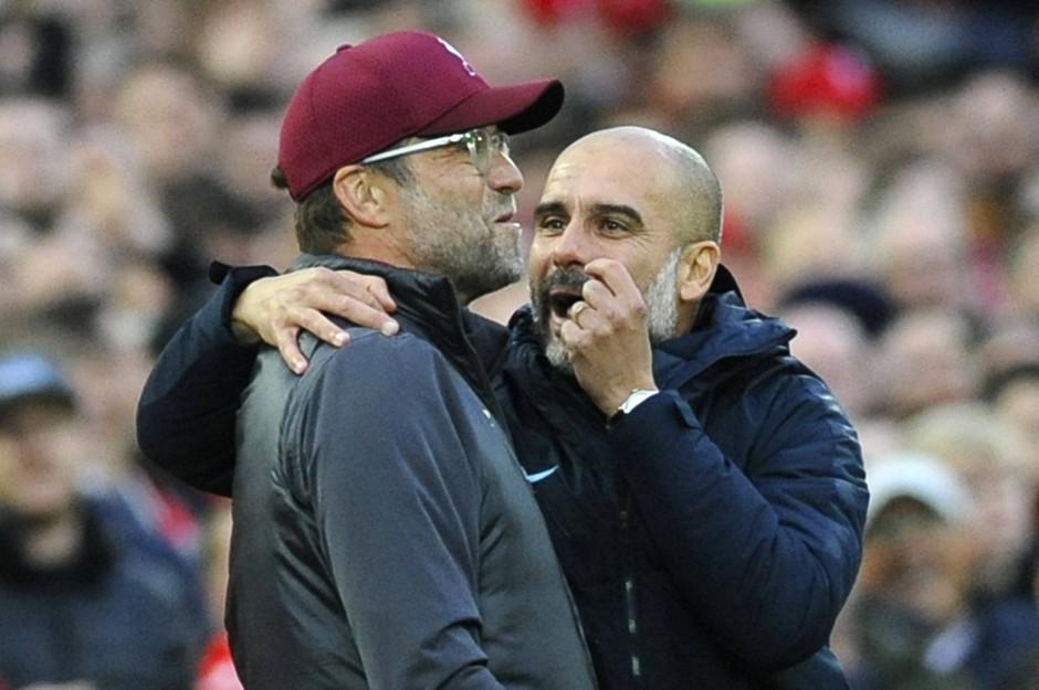 Rivalen in der Premier League: Pep Guardiola (rechts) und Jürgen Klopp