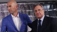 Wie lange darf Zinedine Zidane (links) und Florentino Perez Trainer bleiben?