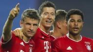 Auf dem Weg ins Finale: Thomas Müller, Robert Lewandowski und Serge Gnabry (von links)