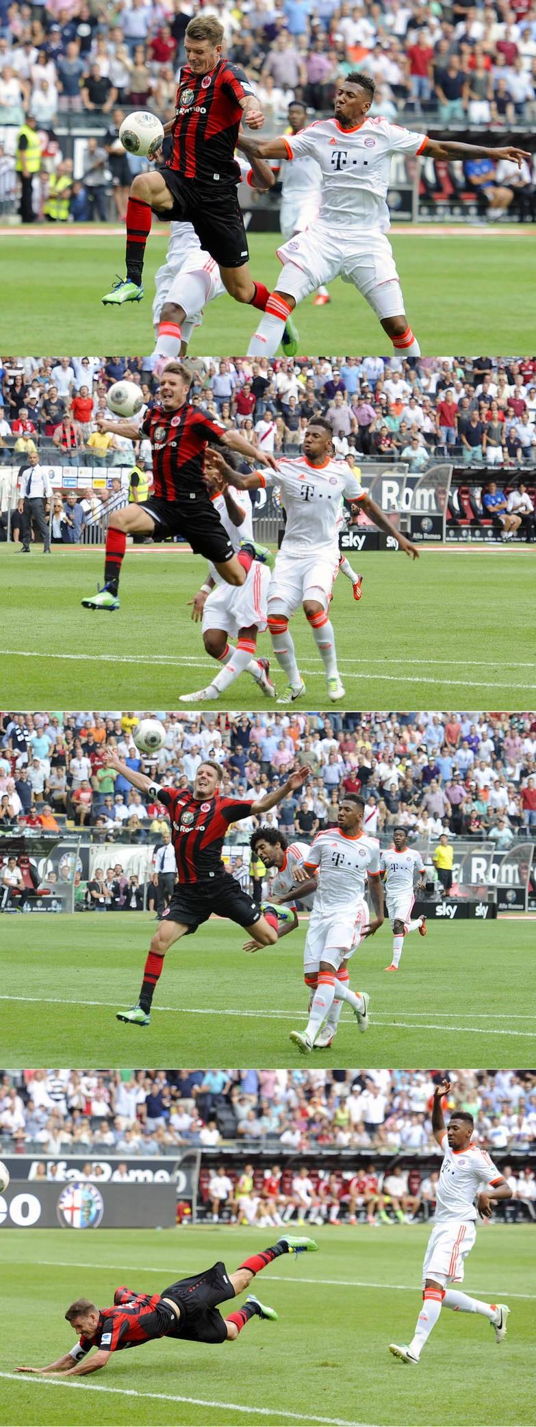 Bayernbonus versus Heimbonus 1:0: Frankfurt fordert im August 2013 vergeblich einen Elfmeter.