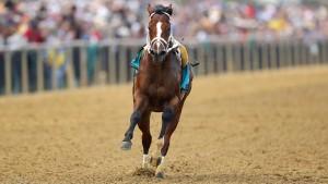 Bockiges Pferd läuft ohne Jockey um den Sieg