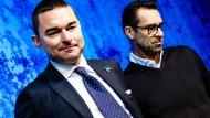 Betretene Mienen: Lars Windhorst (links) und Michael Preetz erklären die LAge bei Hertha BSC.