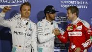 Ein gewohntes Bild nach dem Qualifying: Rosberg, Hamilton und Vettel (von links).