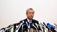 Verkniffen: Der Präsident des Japanischen Olympisches Komitees, Tsunekazu Takeda