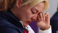 Jetzt tut's ihr leid: Kim Bo-reum entschuldigt sich vor der Presse.