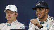 Zweiter und Erster: Nico Rosberg (links) und Lewis Hamilton.