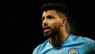 Sergio Aguero von Manchester City konnte die Niederlage seines Klubs gegen Olympique Lyon nicht verhindern.