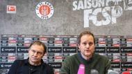 Sieht das überzeugend aus? St. Paulis neuer Trainer Ewald Lienen (l.) neben Präsident Göttlich