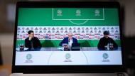 Virtuelle Pressekonferenz in Frankfurt: DFB-Direktor Oliver Bierhoff, DFB-Präsident Fritz Keller und Bundestrainer Joachim Löw (von links).