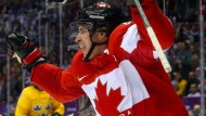 Mit dem Ahornblatt auf der Brust: Sidney Crosby schoss Team Canada 2010 (gegen USA) und 2014 (gegen Schweden) zu Olympiagold