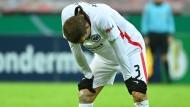 Gesenkter Kopf: Stefan Ilsanker von Eintracht Frankfurt beim Spiel gegen Bayer Leverkusen