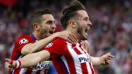 Der Mann des Abends für Atlético Madrid: Torschütze Saúl Ñíguez (rechts, daneben Koke).