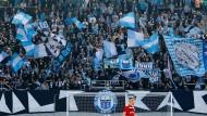 Die offiziellen Farben des Vereins sind auch im Fanblock zu finden: Anhänger des Chemnitzer FC bei Spiel gegen Budissa Bautzen.