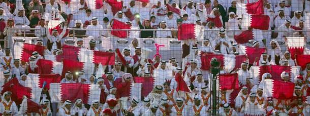 Die Fans aus Qatar dominierten die Tribünen beim Spiel gegen Deutschland