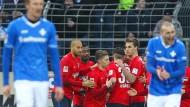 Die Gäste lachen: Hertha BSC Berlin hat in Darmstadt gewonnen