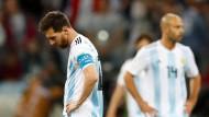 Trister Abgang: Für Lionel Messi und Argentinien könnte die WM nach der Vorrunde enden